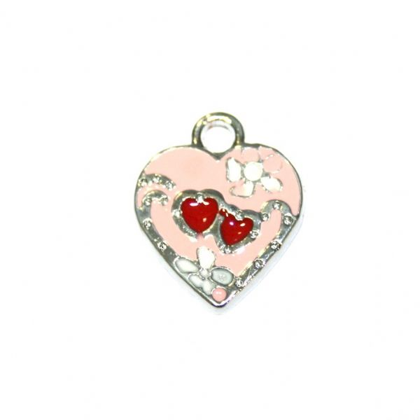 1 x 18*17mm rhodium plated red colour heart with floral pattern enamel charm - SD03 - CHE1247